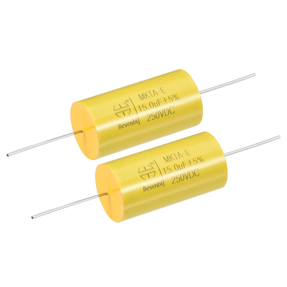 Film Capacitor 250V DC 15.0uF MKTA-E Round Polypropylene Capacitors Yellow 2pcs