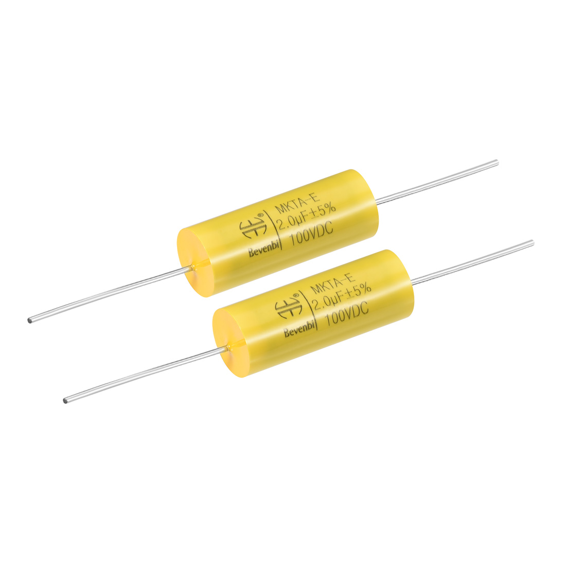 Film Capacitor 100V DC 2.0uF MKTA-E Round Polypropylene Capacitors Yellow 2pcs