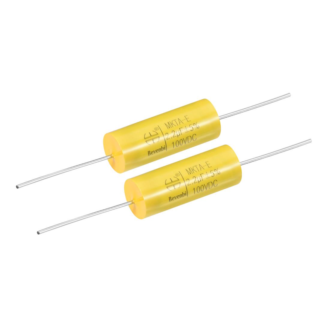 Film Capacitor 100V DC 2.2uF MKTA-E Round Polypropylene Capacitors Yellow 2pcs