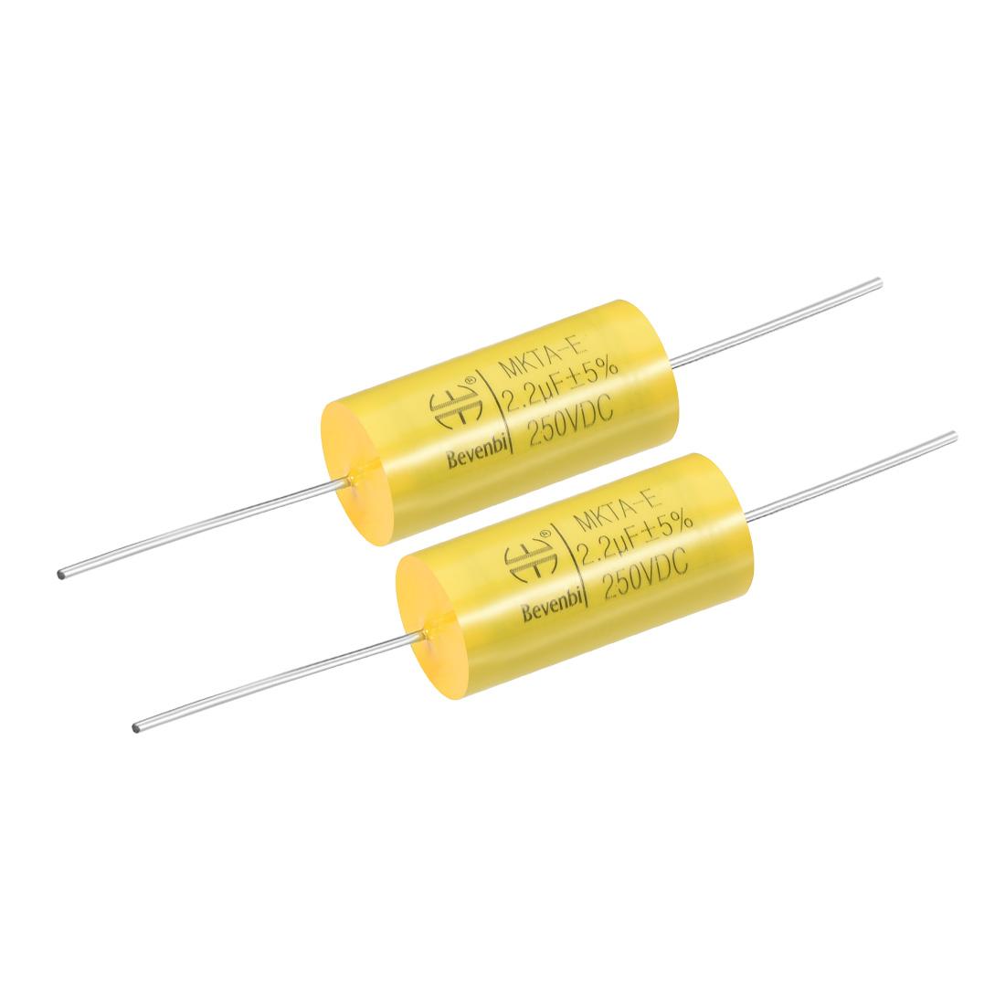 Film Capacitor 250V DC 2.2uF MKTA-E Round Polypropylene Capacitors Yellow 2pcs