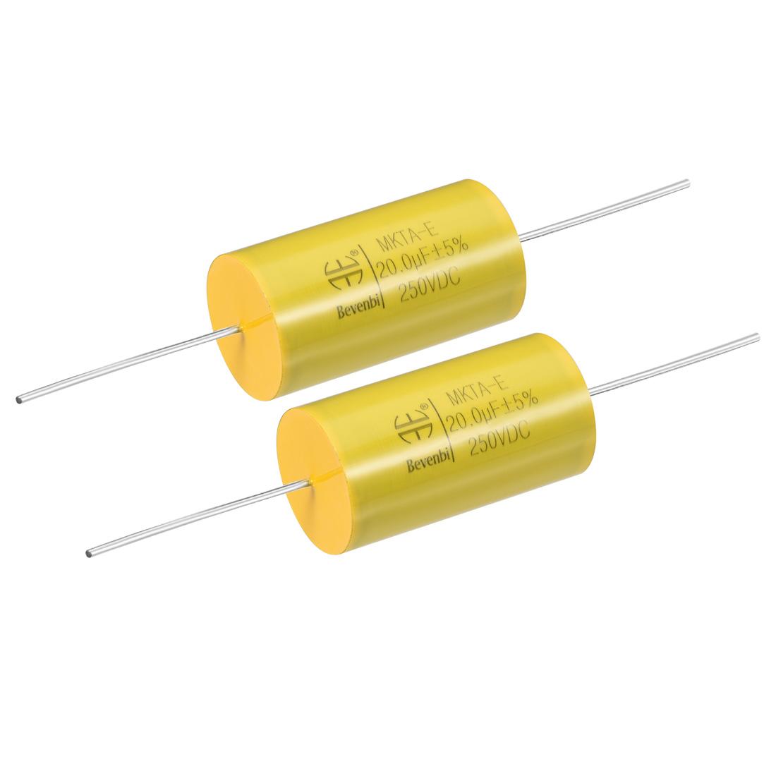 Film Capacitor 250V DC 20.0uF MKTA-E Round Polypropylene Capacitors Yellow 2pcs