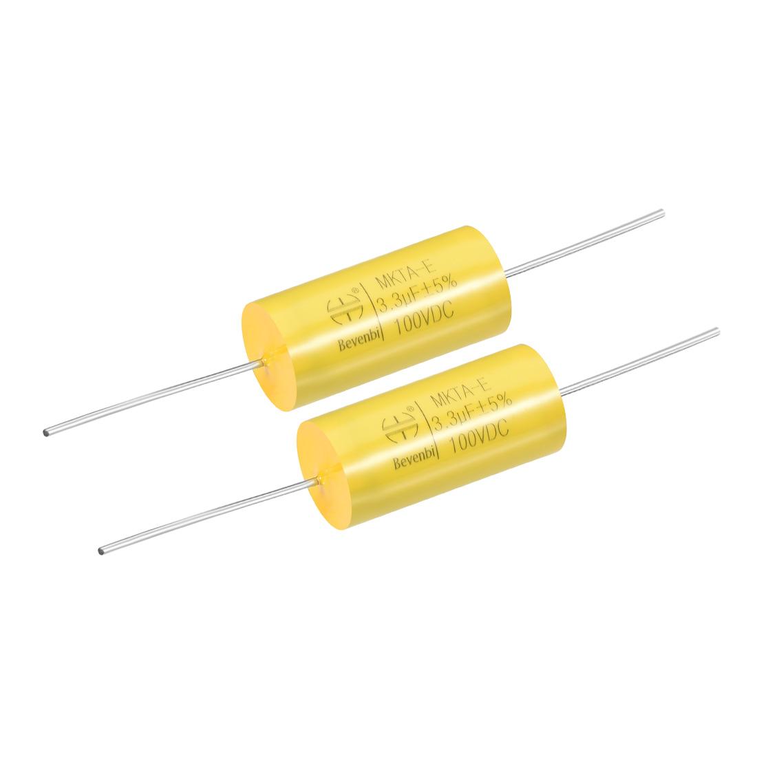 Film Capacitor 100V DC 3.3uF MKTA-E Round Polypropylene Capacitors Yellow 2pcs