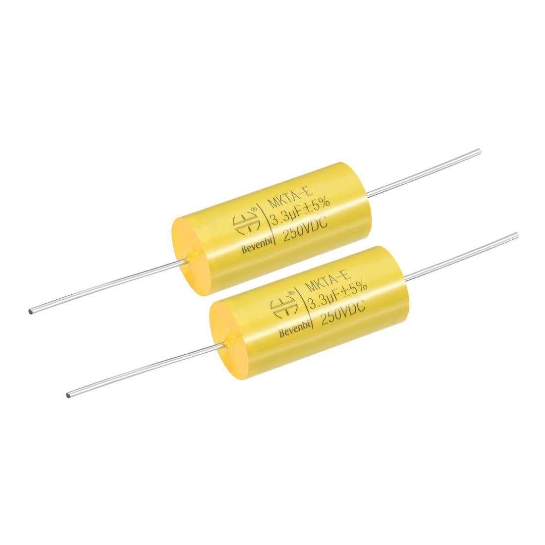 Film Capacitor 250V DC 3.3uF MKTA-E Round Polypropylene Capacitors Yellow 2pcs
