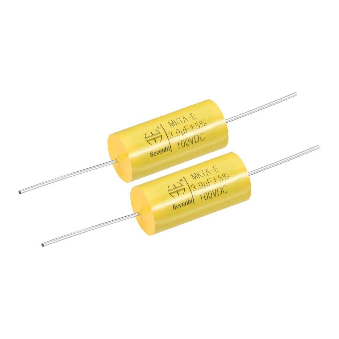 Film Capacitor 100V DC 3.9uF MKTA-E Round Polypropylene Capacitors Yellow 2pcs