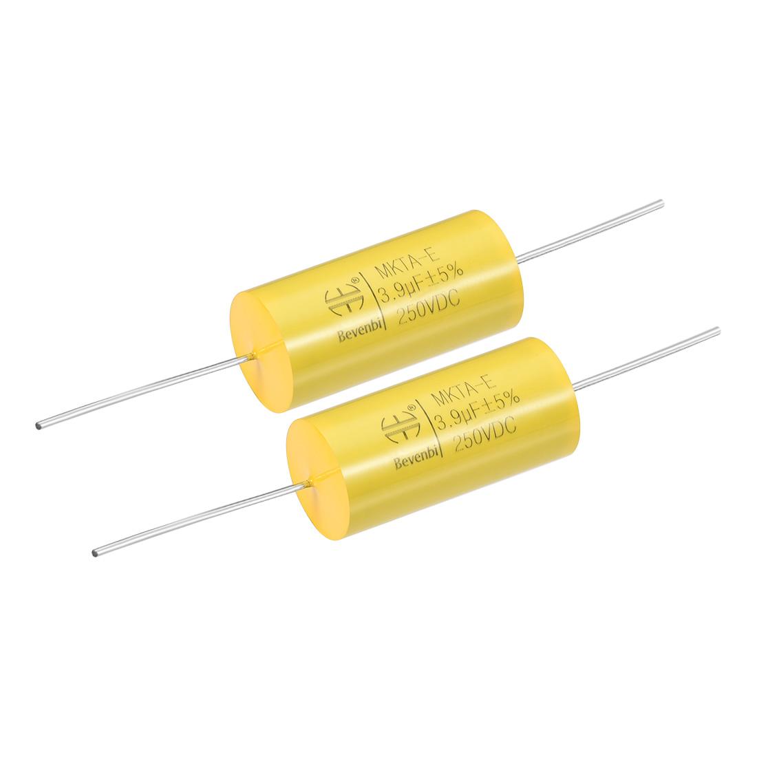 Film Capacitor 250V DC 3.9uF MKTA-E Round Polypropylene Capacitors Yellow 2pcs