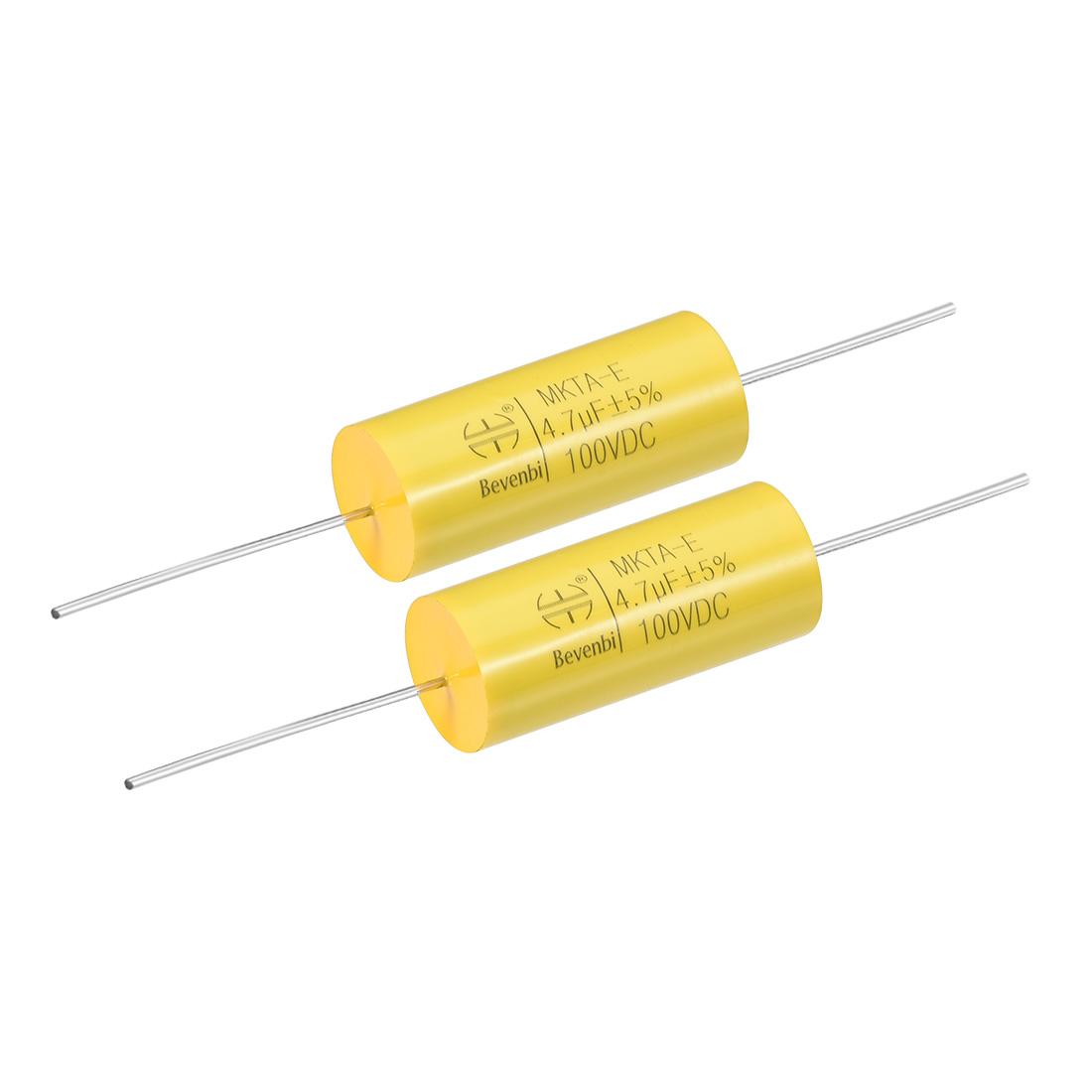 Film Capacitor 100V DC 4.7uF MKTA-E Round Polypropylene Capacitors Yellow 2pcs