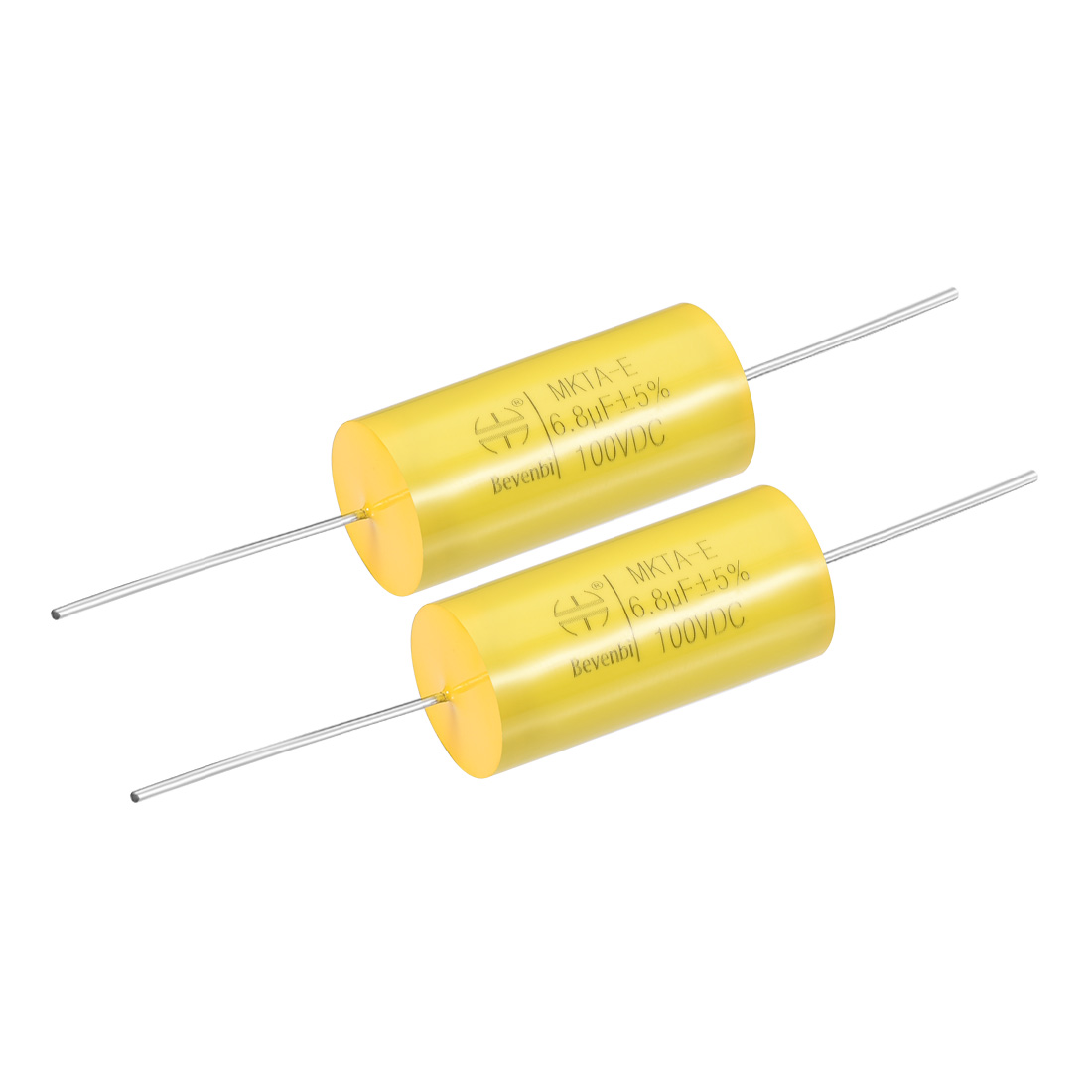 Film Capacitor 100V DC 6.8uF MKTA-E Round Polypropylene Capacitors Yellow 2pcs