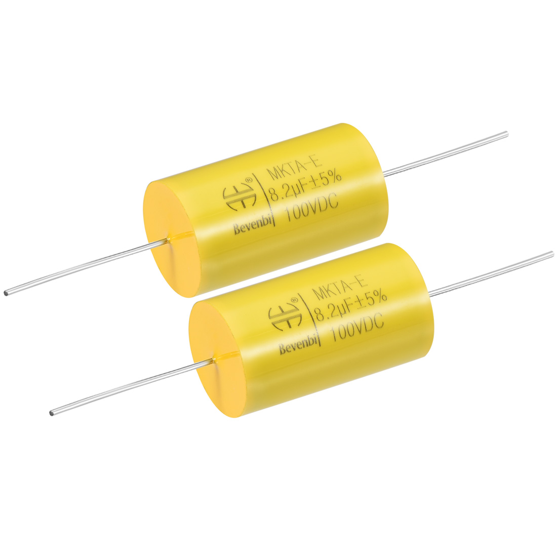 Film Capacitor 100V DC 8.2uF MKTA-E Round Polypropylene Capacitors Yellow 2pcs