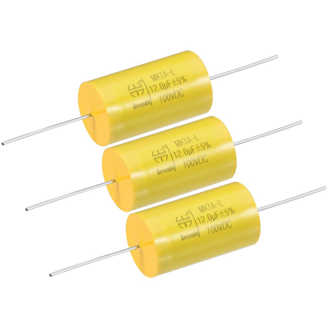 Film Capacitor 100V DC 12.0uF MKTA-E Round Polypropylene Capacitors Yellow 3pcs