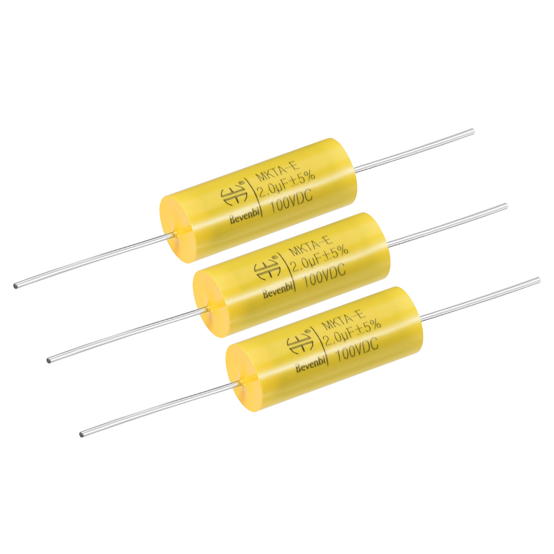 Film Capacitor 100V DC 2.0uF MKTA-E Round Polypropylene Capacitors Yellow 3pcs