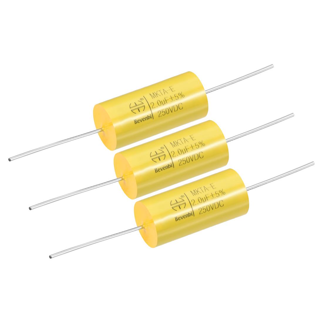 Film Capacitor 250V DC 2.0uF MKTA-E Round Polypropylene Capacitors Yellow 3pcs