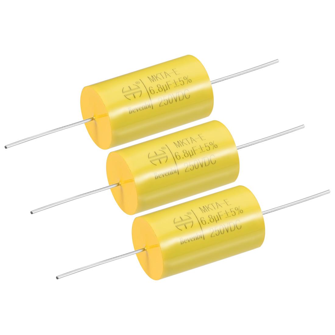 Film Capacitor 250V DC 6.8uF MKTA-E Round Polypropylene Capacitors Yellow 3pcs