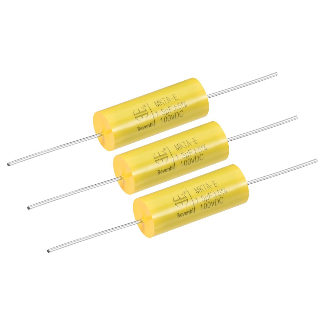Film Capacitor 100V DC 1.5uF MKTA-E Round Polypropylene Capacitors Yellow 3pcs