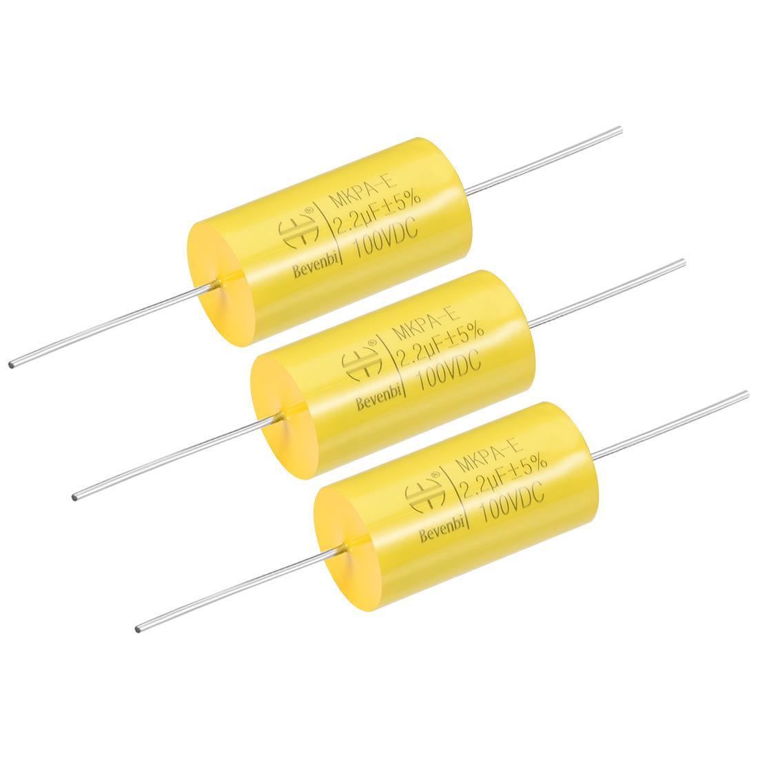 Film Capacitor 100V DC 2.2uF MKPA-E Round Polypropylene Capacitors Yellow 3pcs