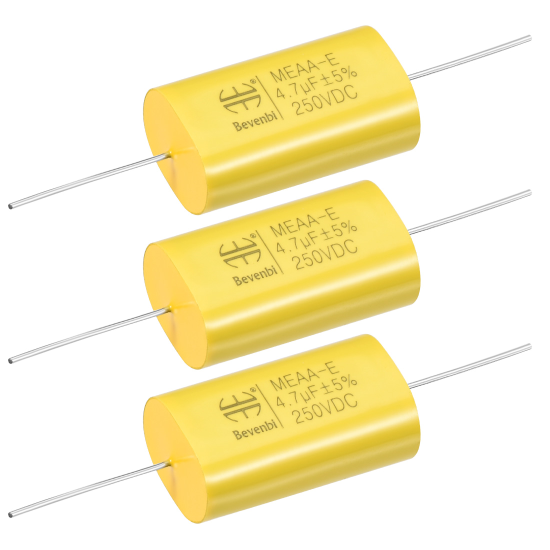 Film Capacitor 250V DC 4.7uF MKAA-E Flat Polypropylene Capacitors Yellow 3pcs