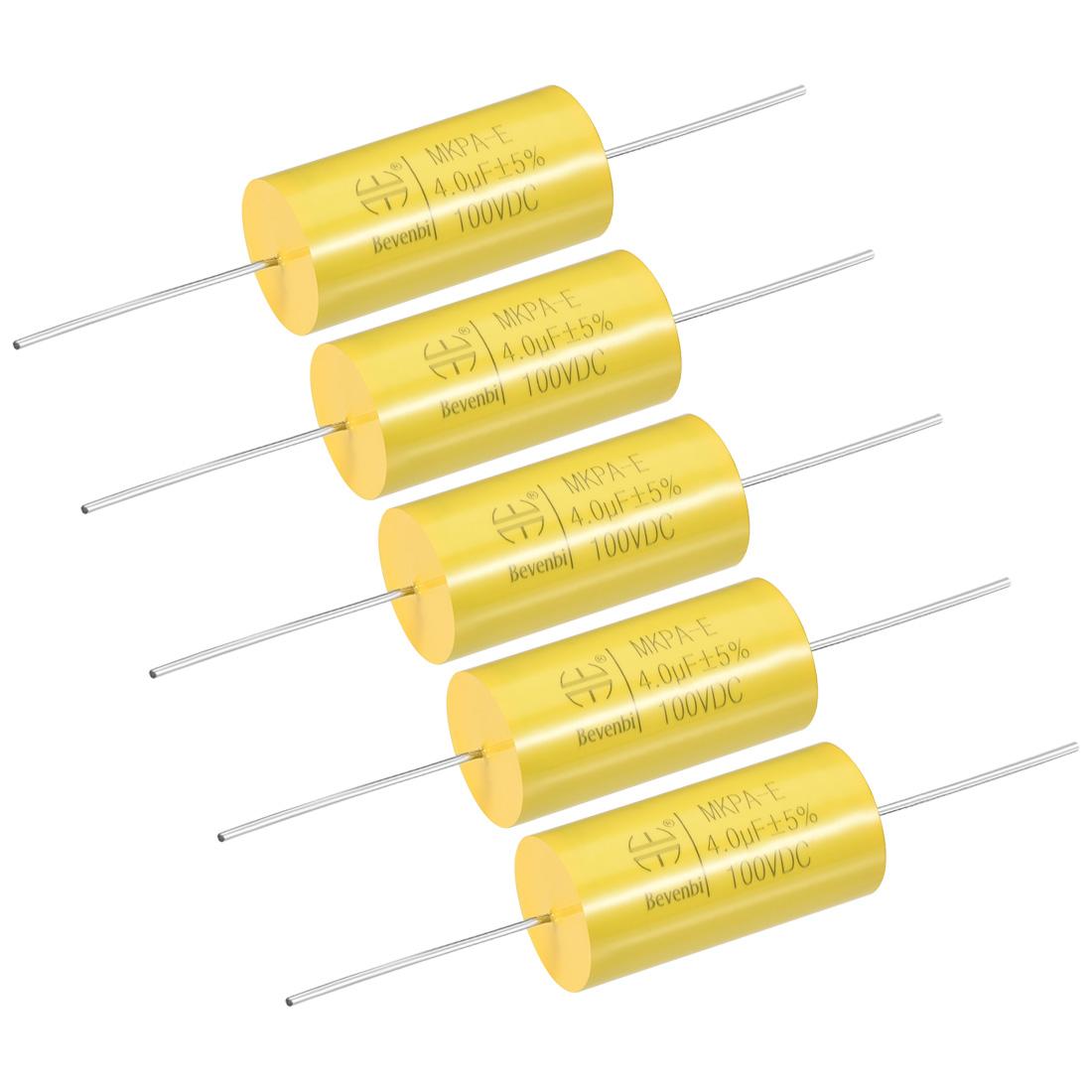 Film Capacitor 100V DC 4.0uF MKPA-E Round Polypropylene Capacitors Yellow 5pcs