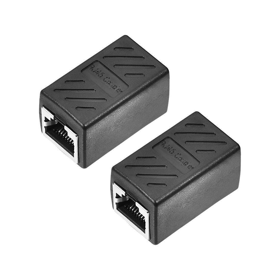 RJ45 Coupler Inline Connector Cat7 Cat6 Cat5e Ethernet Extender 36x43x20mm 2Pcs