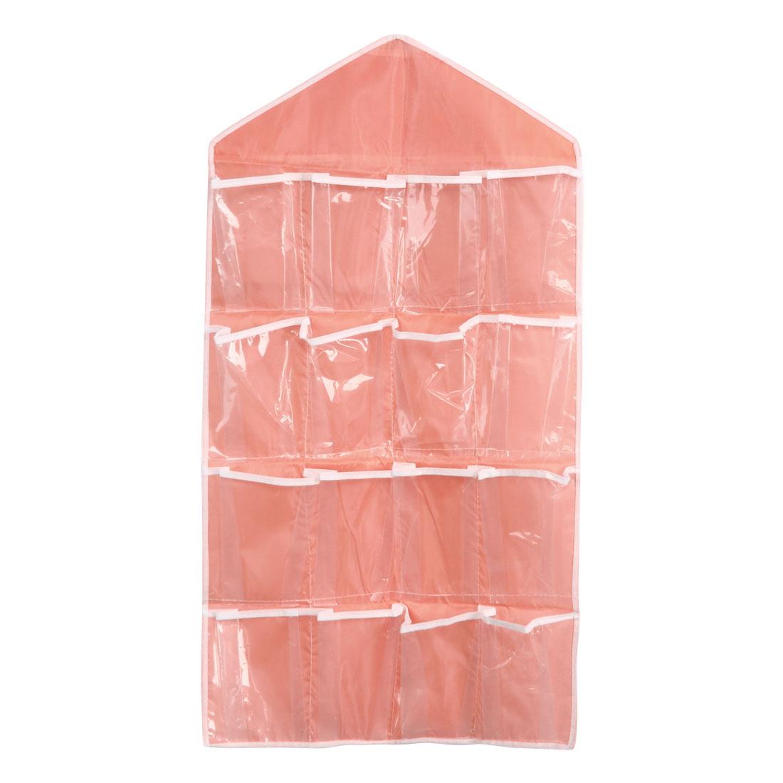 Wall Door Closet Multilayer Hanging Storage Bag Case Organizer Pouch Pink