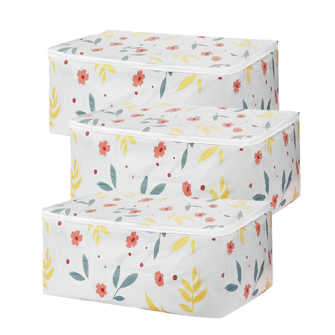 21.7 x 14.2 x 9.1 Inch Quilt Storage Bag Cloths Container for Closet 3pcs
