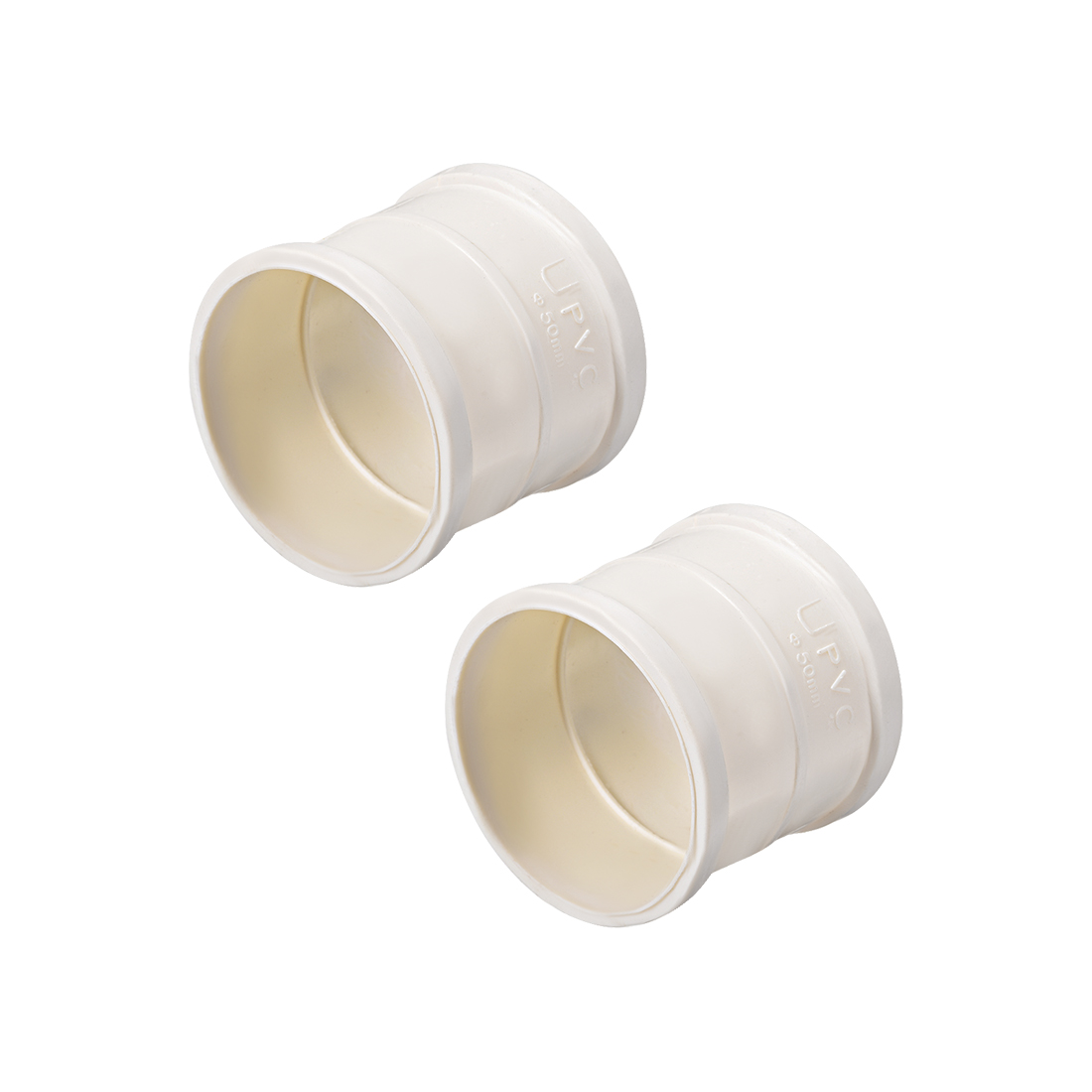 PVC Pipe Fitting Coupling Schedule 40 White 1-1/2-inch Socket 2pcs
