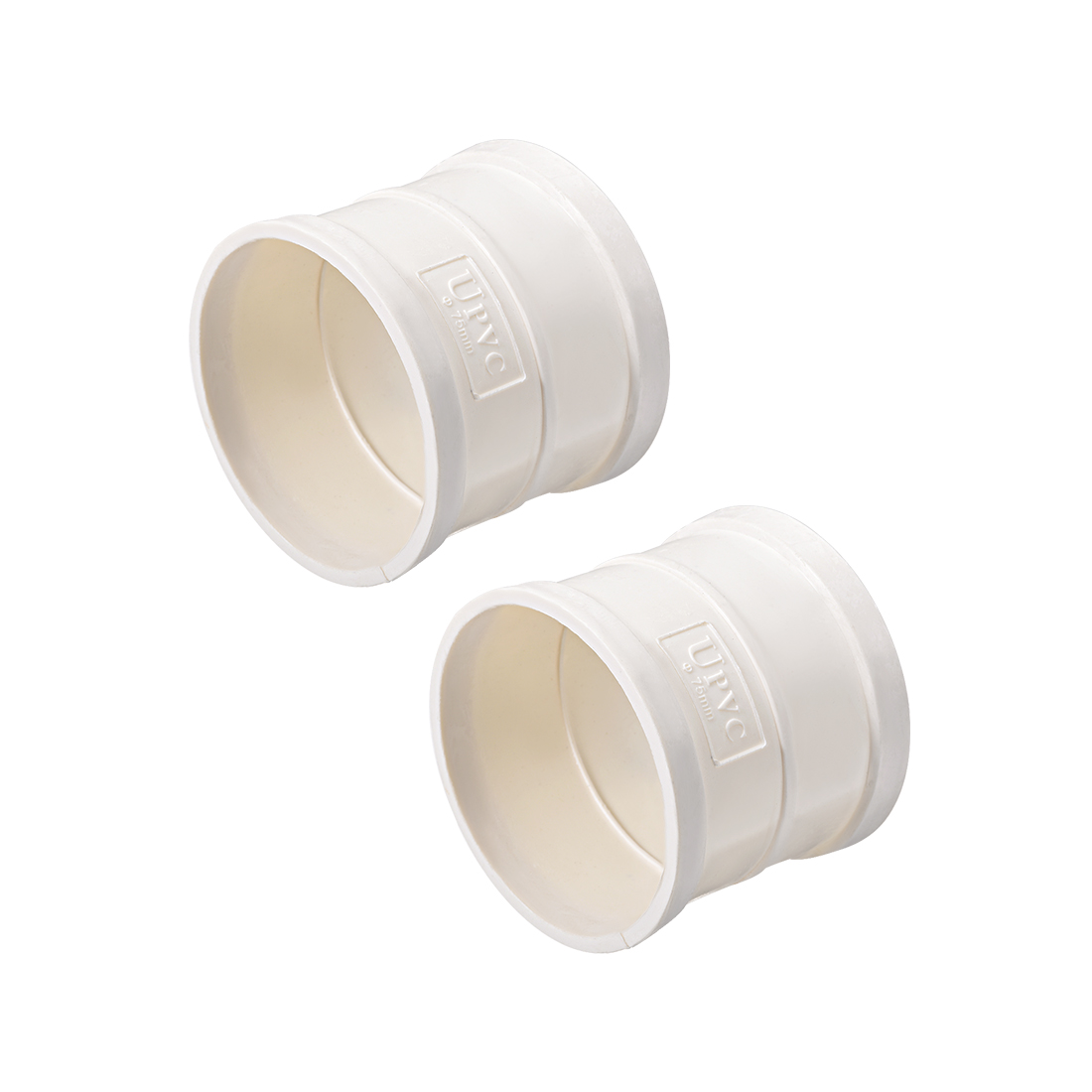 PVC Pipe Fitting Coupling Schedule 40 White 2-1/2-inch Socket 2pcs
