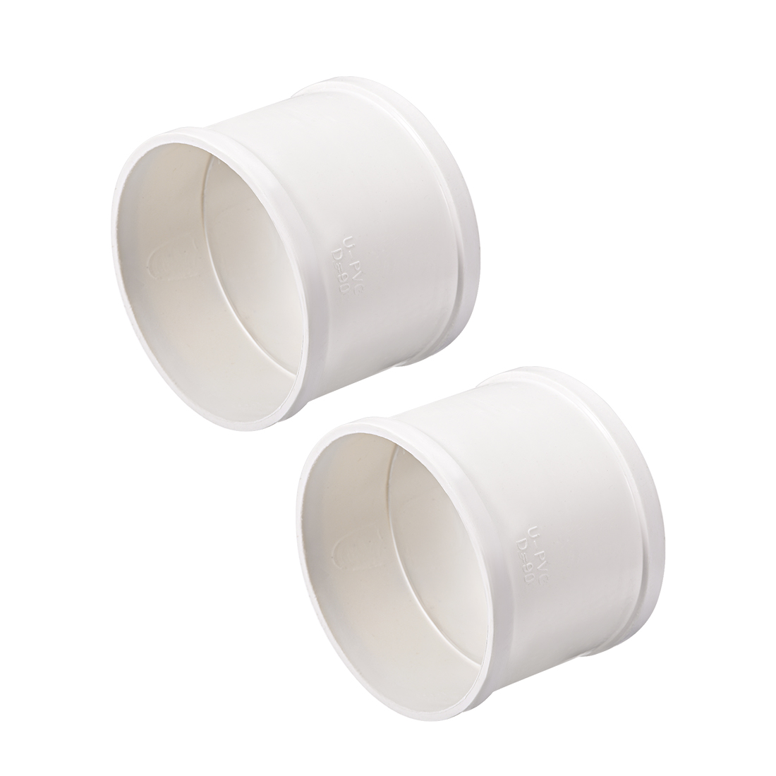 PVC Pipe Fitting Coupling Schedule 40 White 3-inch Socket 2pcs