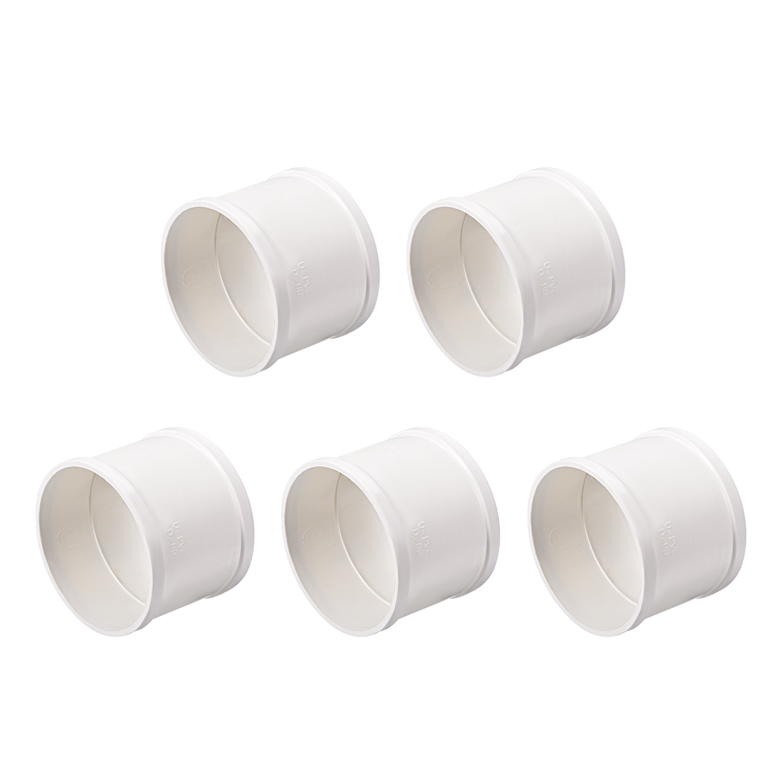 PVC Pipe Fitting Coupling Schedule 40 White 3-inch Socket 5pcs
