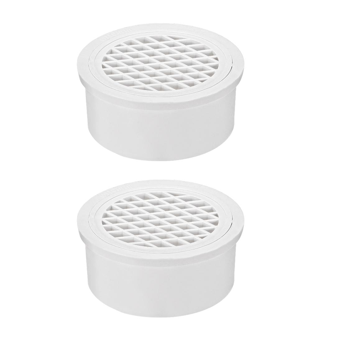 PVC Snap-In Floor Drain 4-inch Bathroom Sink And Tub Drain Strainers 2pcs