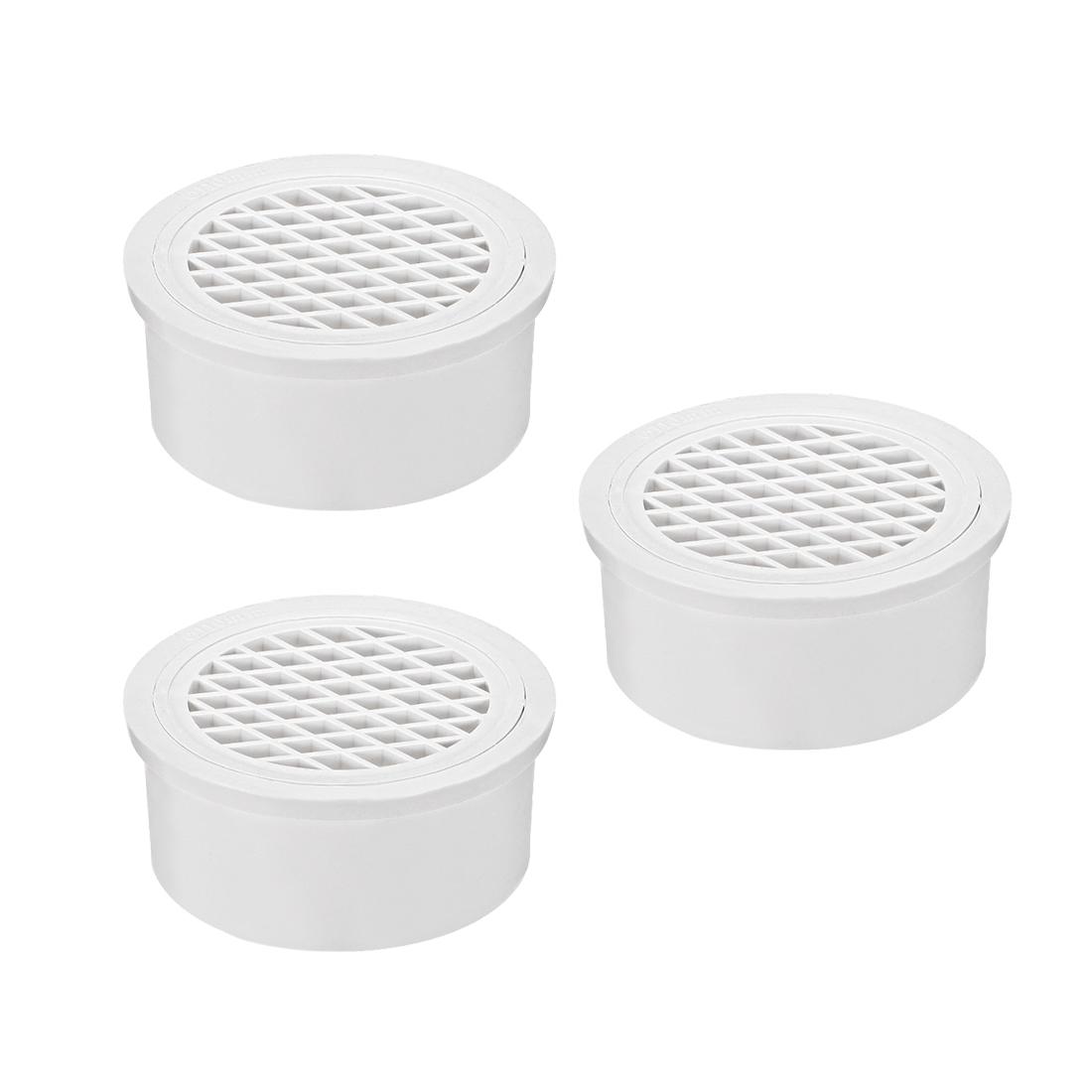 PVC Snap-In Floor Drain 4-inch Bathroom Sink And Tub Drain Strainers 3pcs
