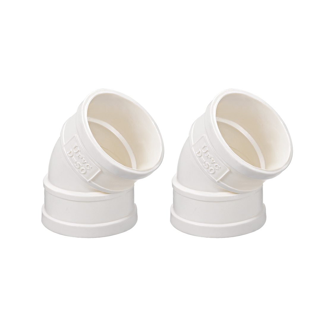 PVC Pipe Fitting 45 Degree Elbow Schedule 40 White 1-1/2-Inch Socket 2pcs