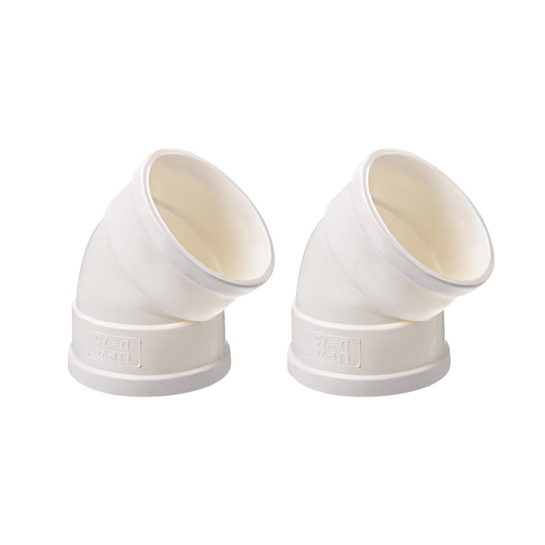 PVC Pipe Fitting 45 Degree Elbow Schedule 40 White 2-1/2-Inch Socket 2pcs