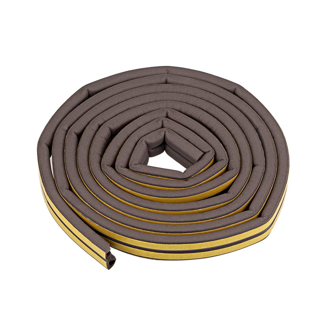 Foam Tape Self-Adhesive Seal Strip 9mm Width 7.5mm Thick 8.2 Feet Brown 2Pcs