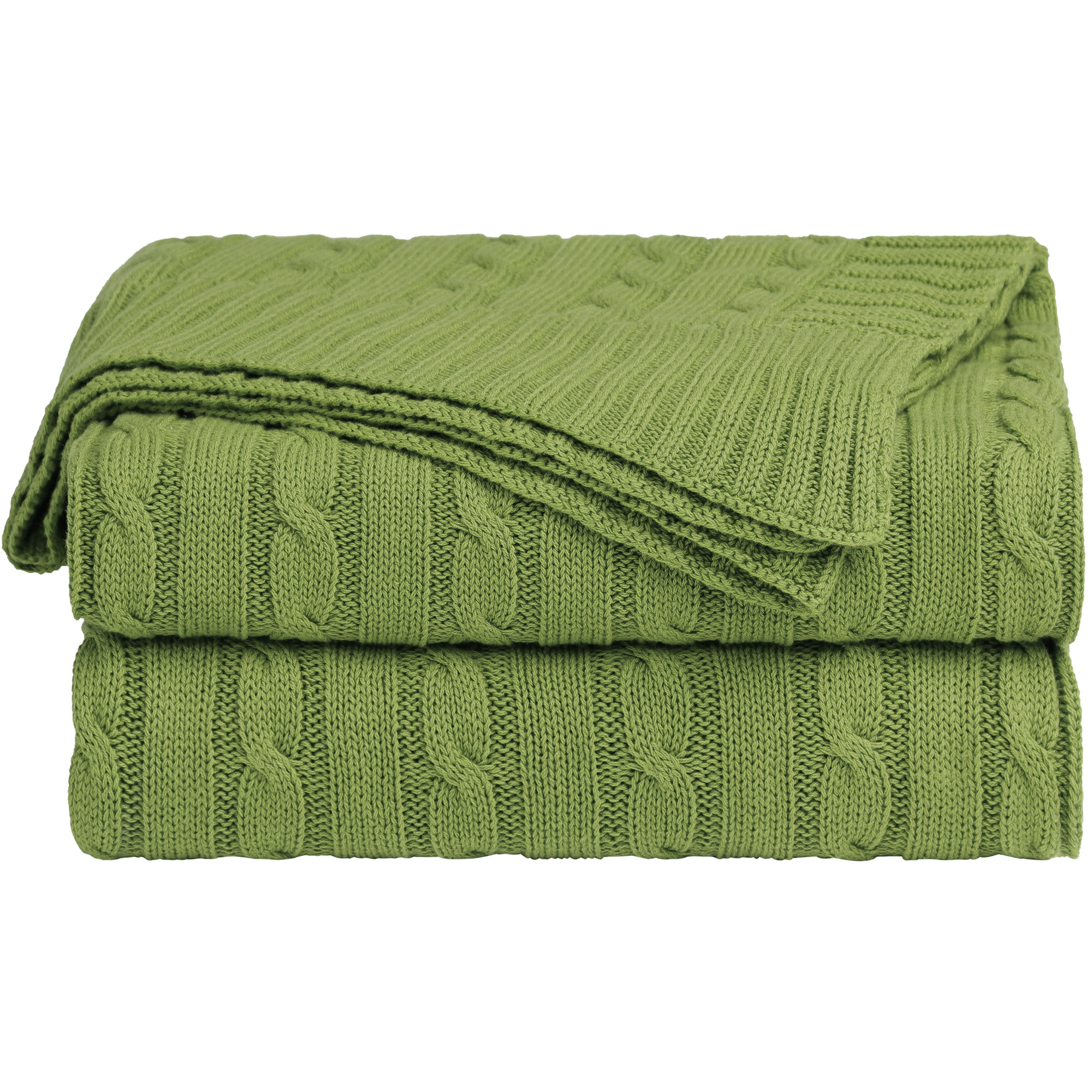 Home Decor 100% Cotton Soft Cable Knit Throw Blanket Green