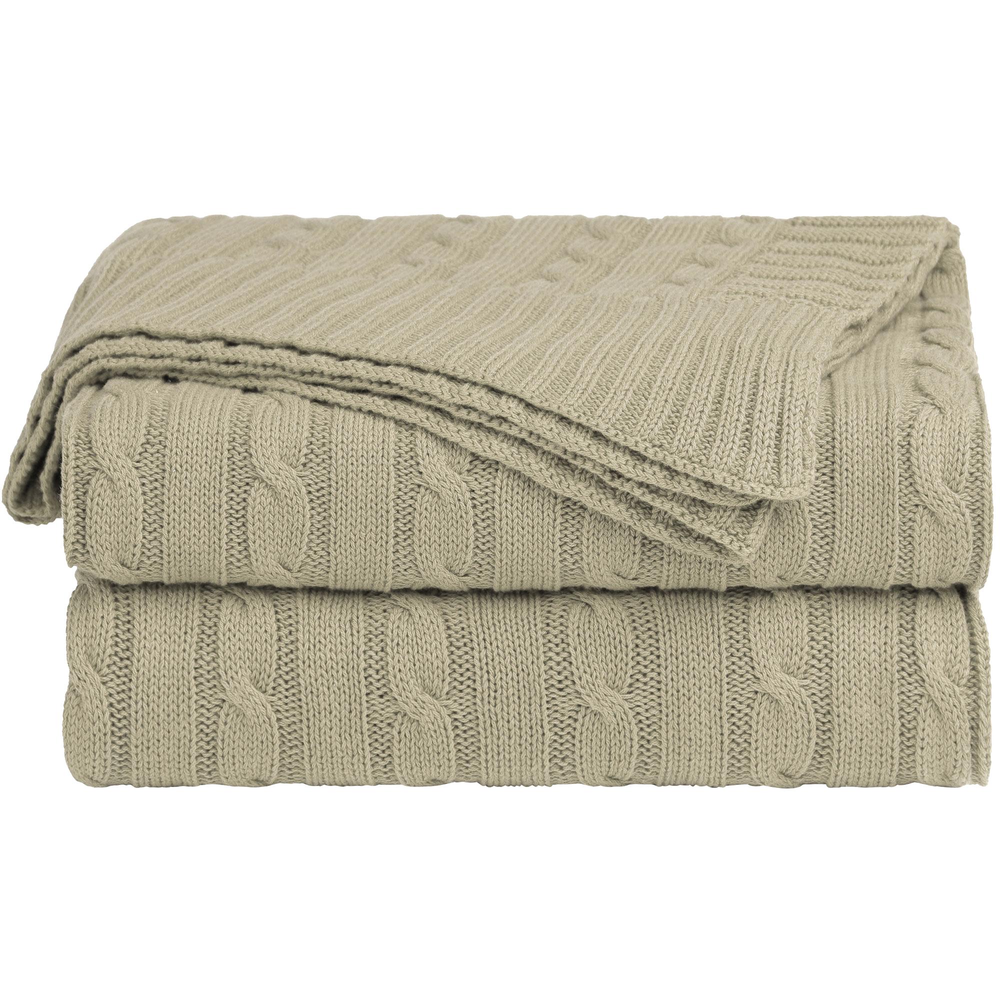 Home Decor 100% Cotton Soft Cable Knit Throw Blanket Khaki