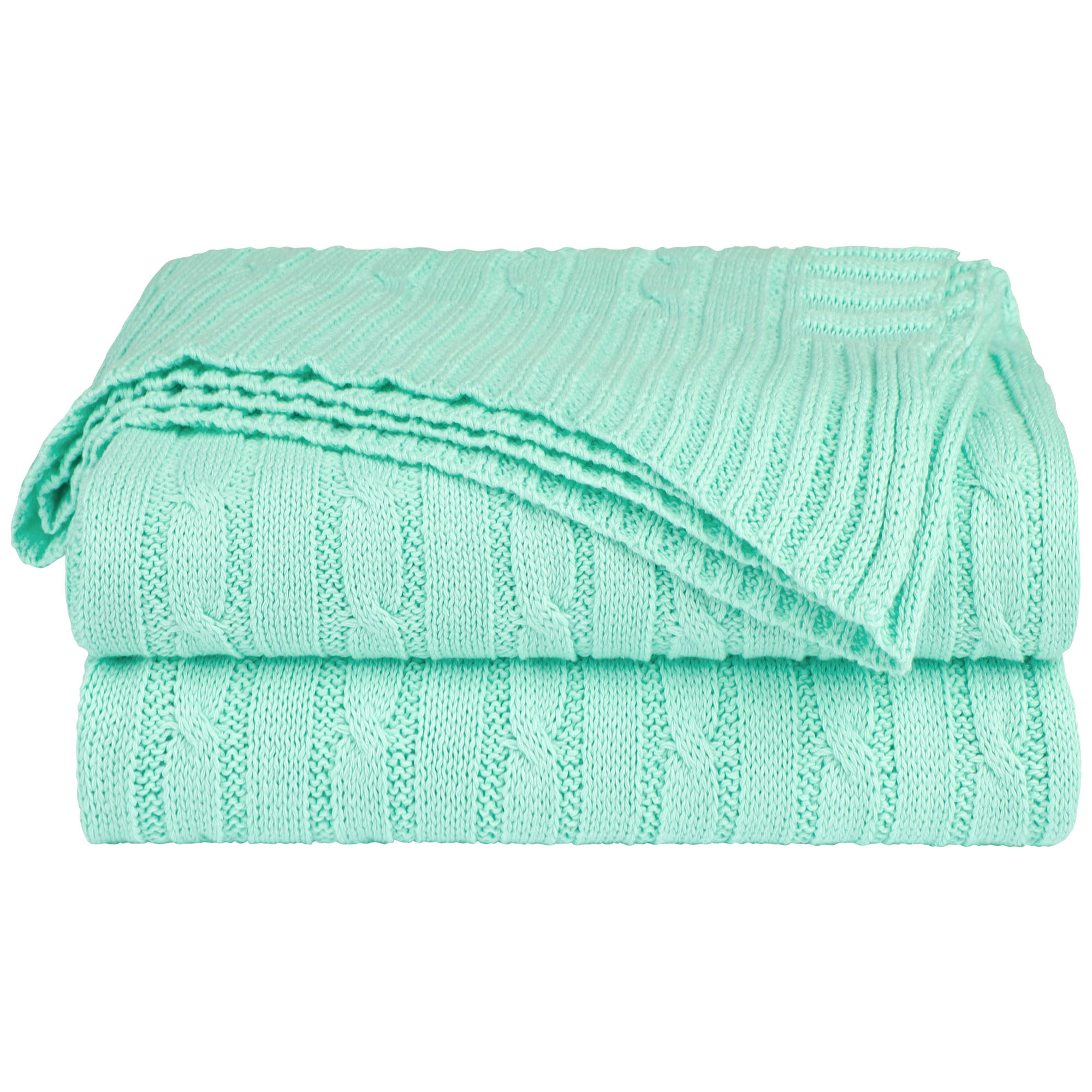 Home Decor 100% Cotton Soft Cable Knit Throw Blanket Pale Green