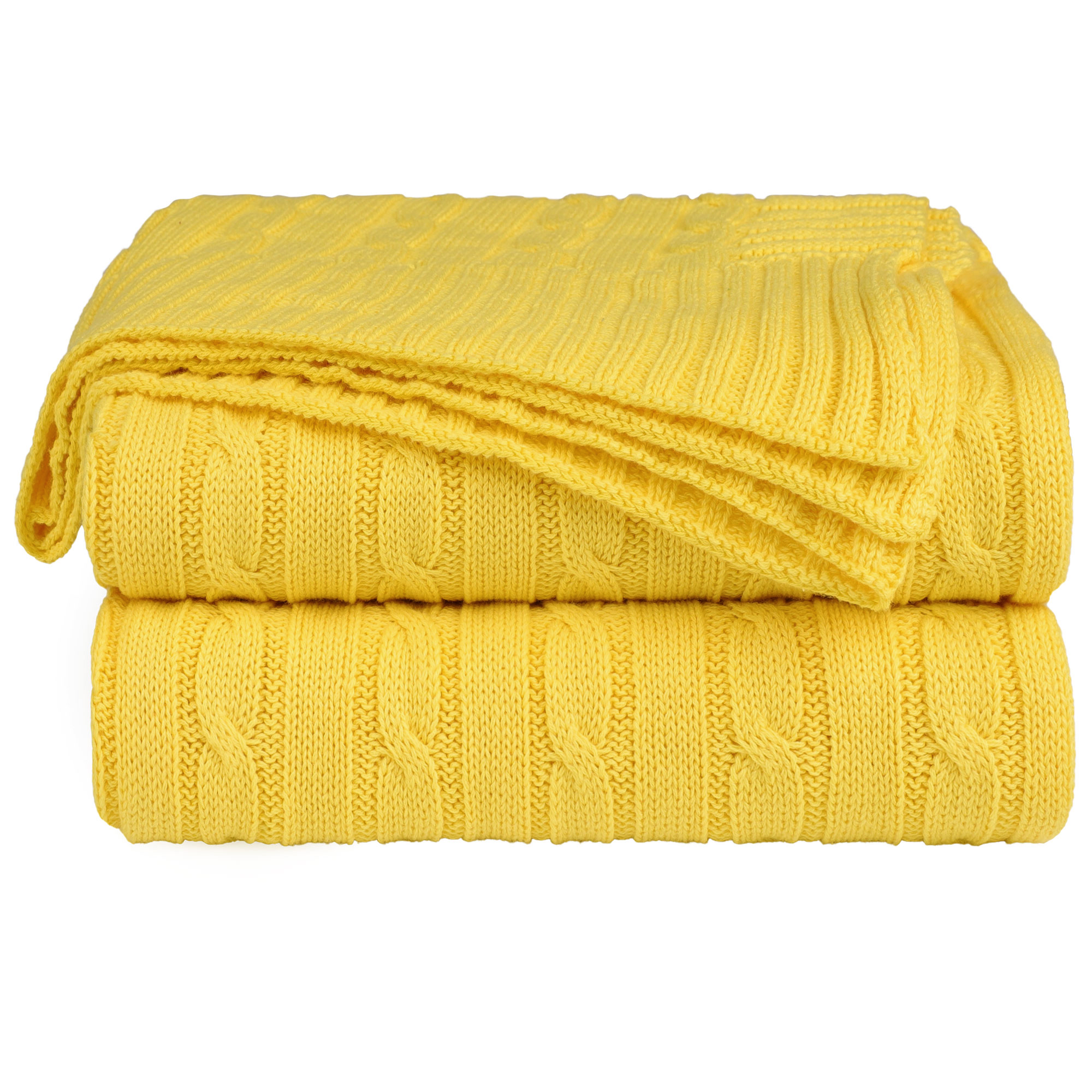 Home Decor 100% Cotton Soft Cable Knit Throw Blanket Yellow