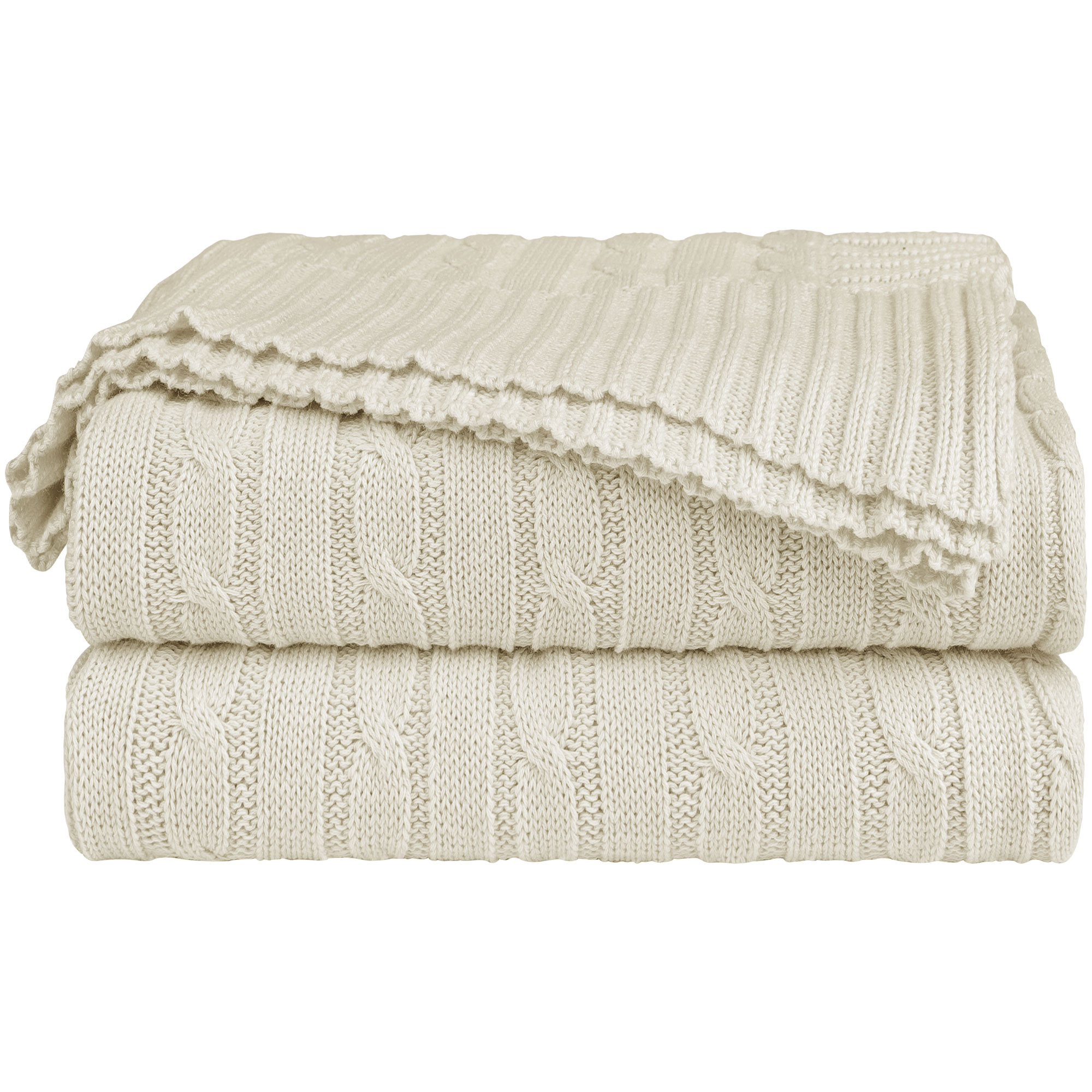 Home Decor 100% Cotton Soft Cable Knit Throw Blanket Beige