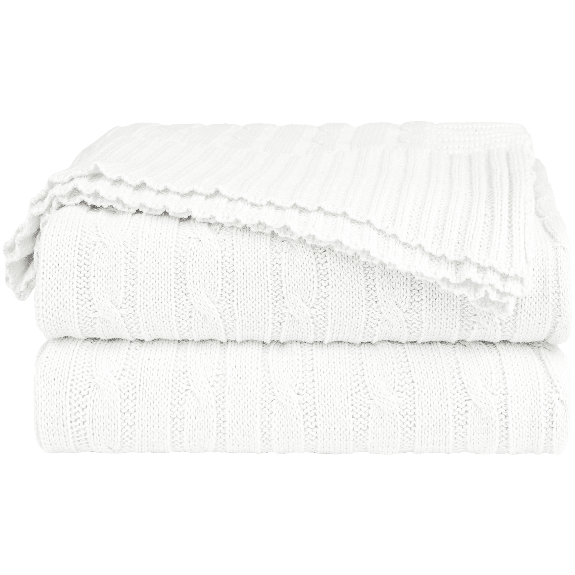 Home Decor 100% Cotton Soft Cable Knit Throw Blanket White