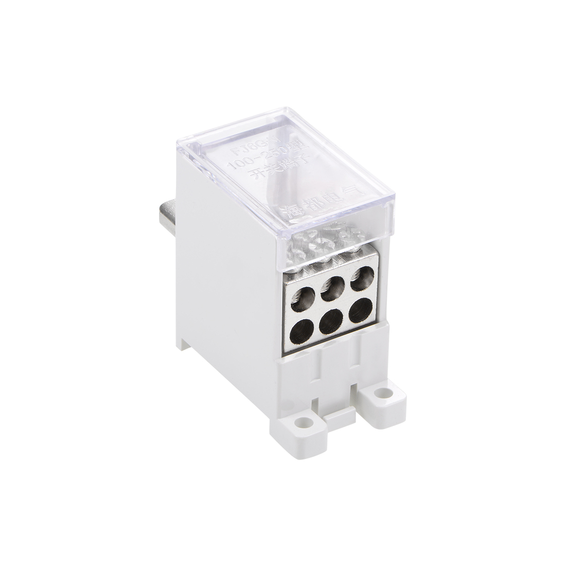 1 Inlet 6 Outlet DIN Rail Terminal Blocks 125A Max Input Distribution Block