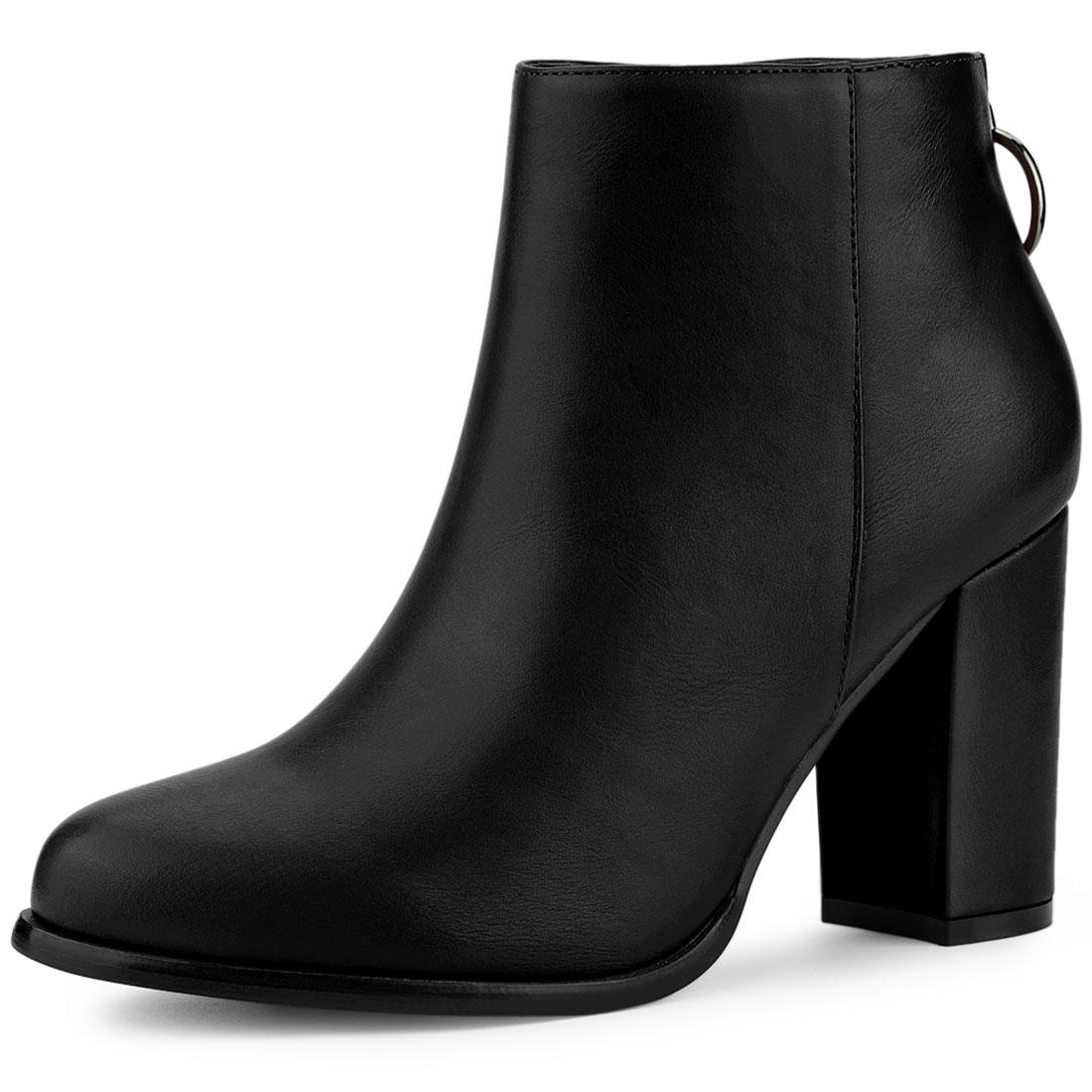 Allegra K Women's Round Toe Back Zip Block Heel Ankle Booties Black US 9