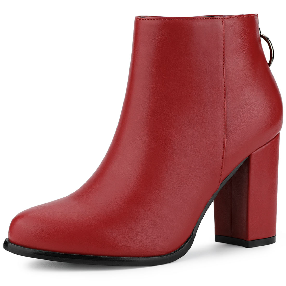 Allegra K Women's Round Toe Back Zip Block Heel Ankle Booties Red US 6
