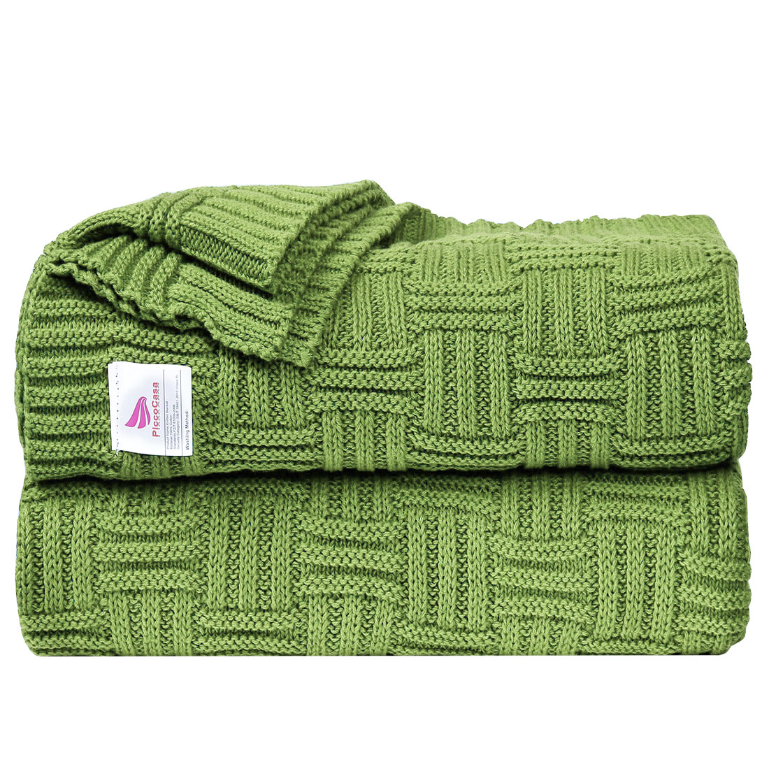 100% Cotton Warm Cable Knit Throw Blanket for Sofa Couch Decor Green