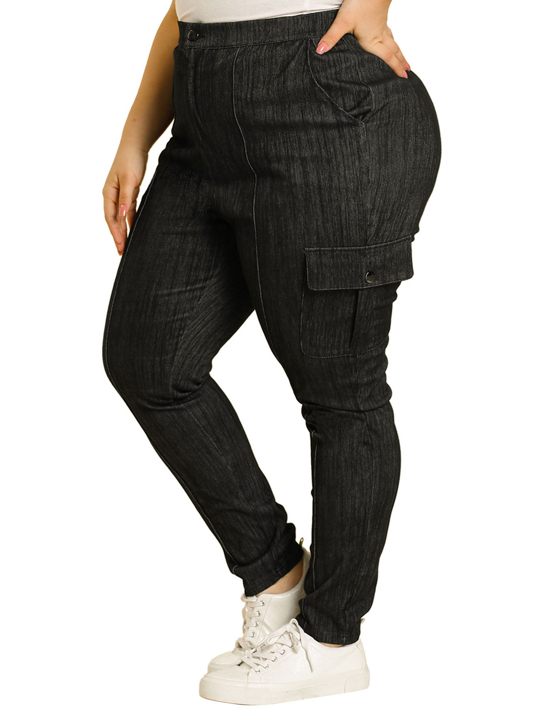Women's Plus Size Joggers Skinny Contrast Color Ponte Casual Pants Black 2X