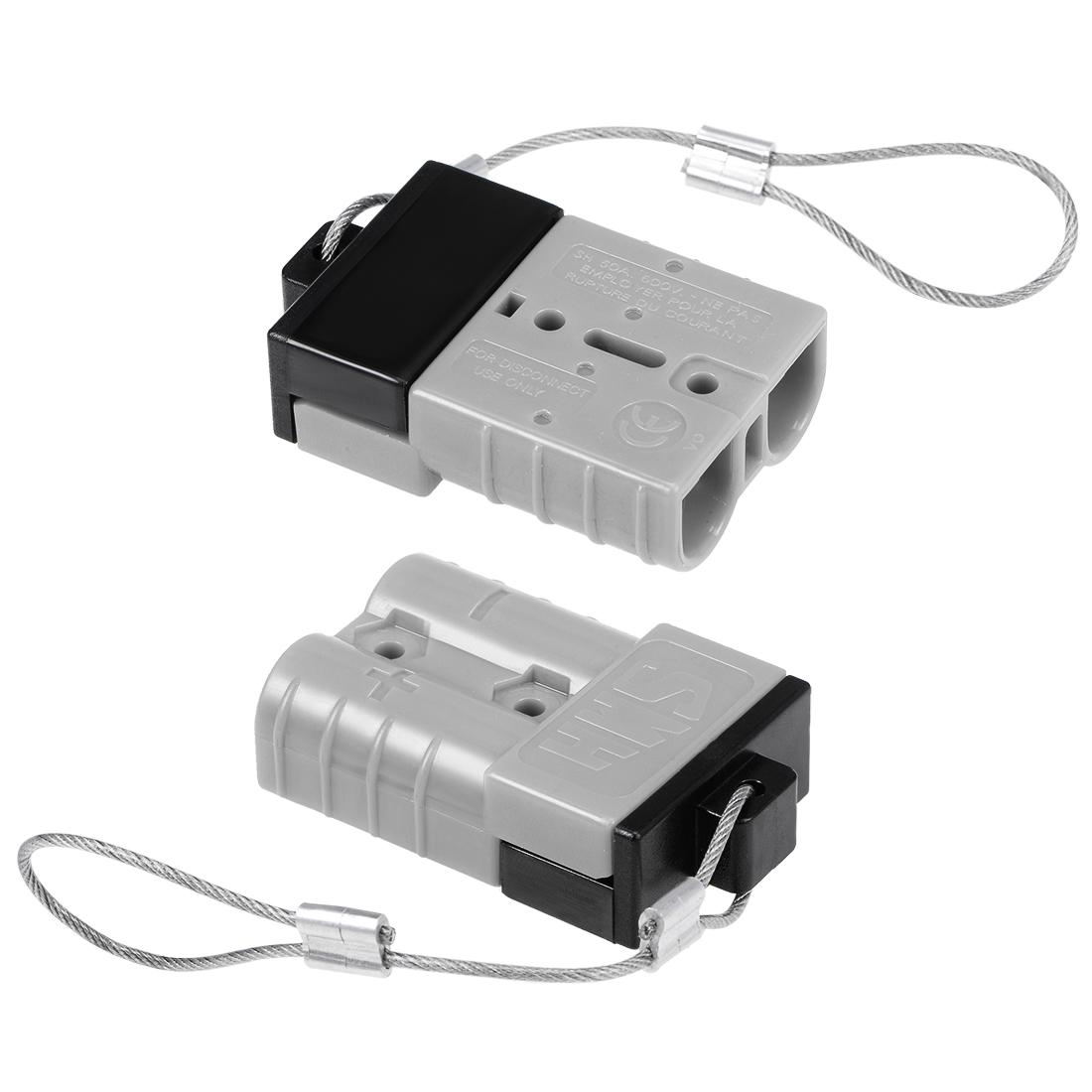 6 Gauge Battery Quick Connect Disconnect 50A Wire Harness Connector, Grey, 2pcs