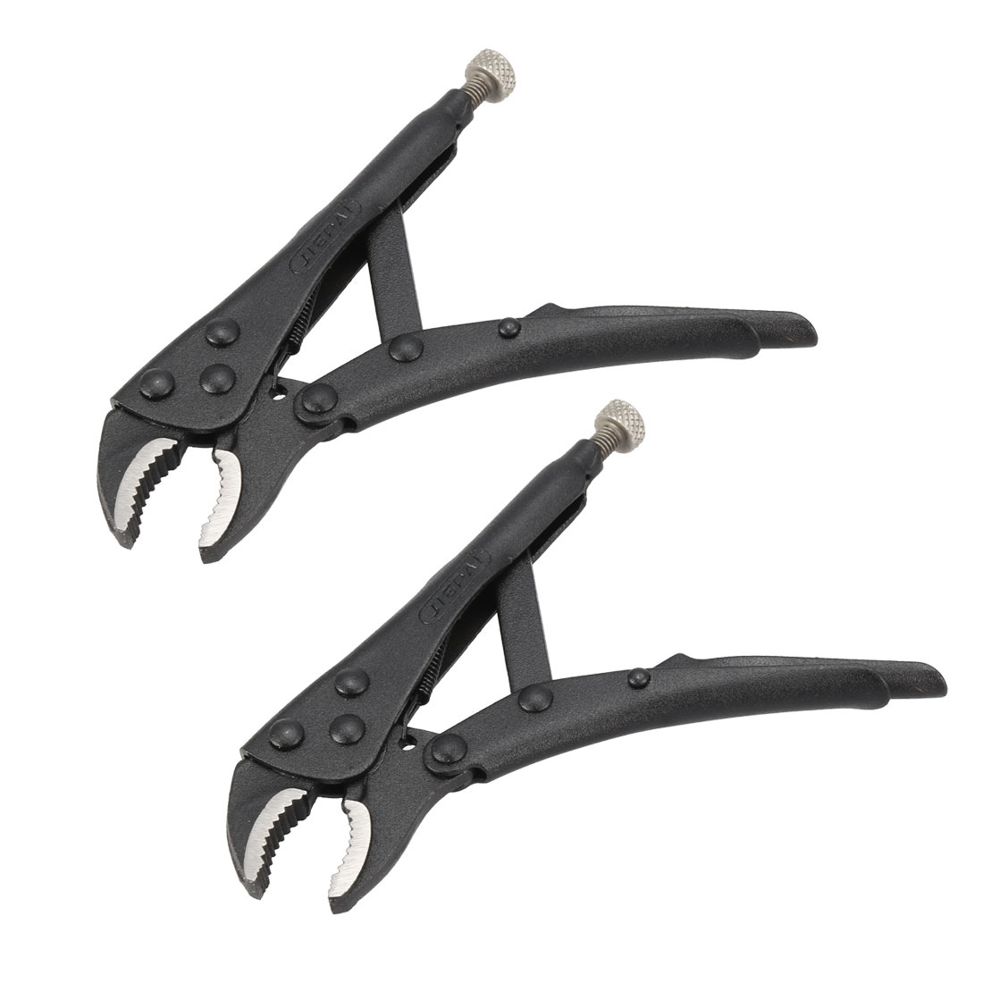 Curved Jaw Locking Pliers High Carbon Steel 5-inch Adjustable Pliers Black 2Pcs