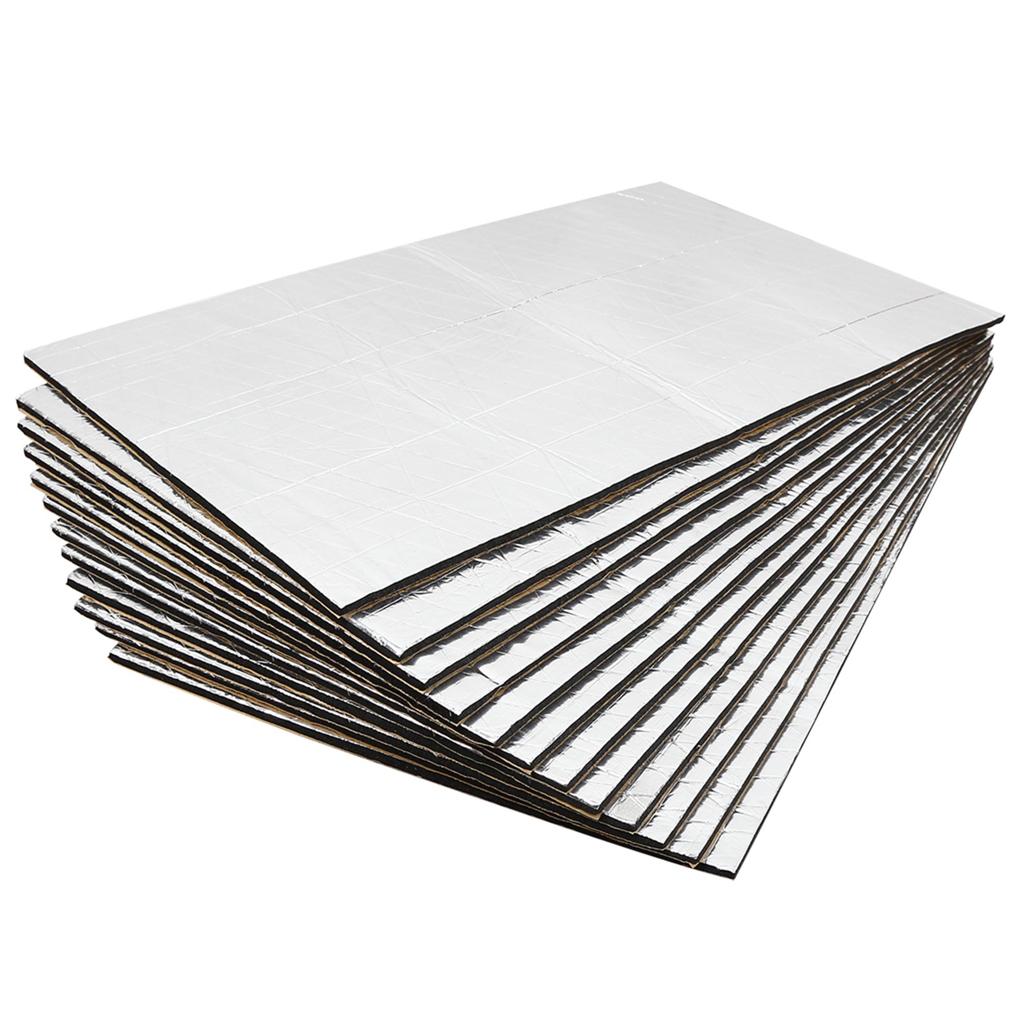 19.2sqft Sound Deadener Heat Insulation Mat Hood Floor Door 12pcs 50 x 30cm