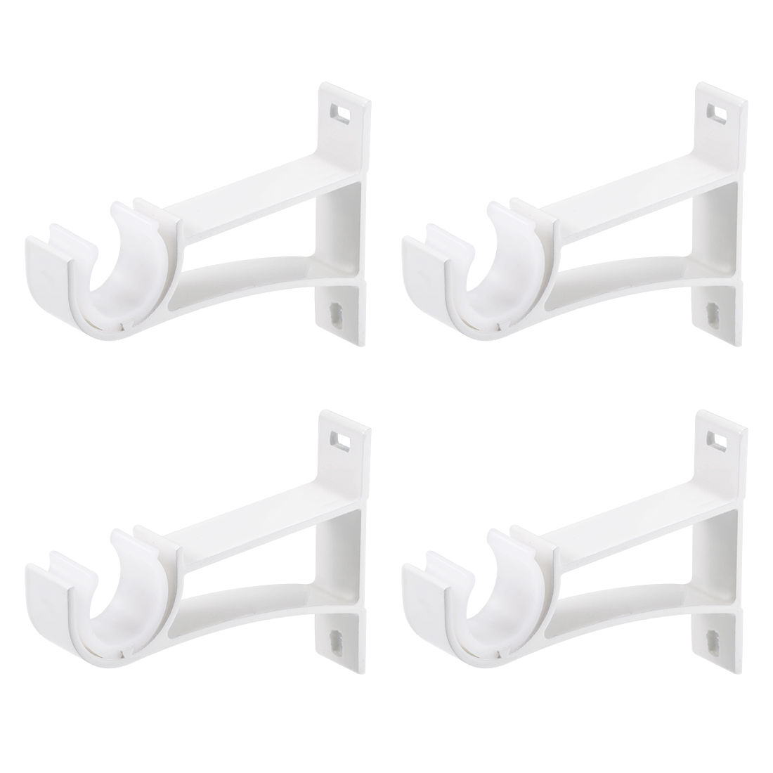 Curtain Rod Bracket Single Holder for 24mm Rod, 108 x 80 x 19mm Milky White 4Pcs