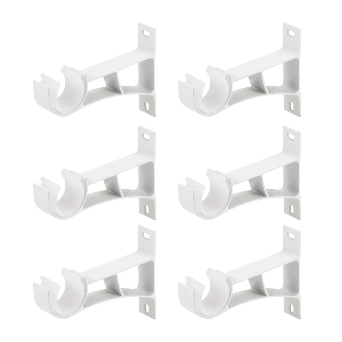 Curtain Rod Bracket Single Holder for 24mm Rod, 108 x 78 x 19mm Milky White 6Pcs