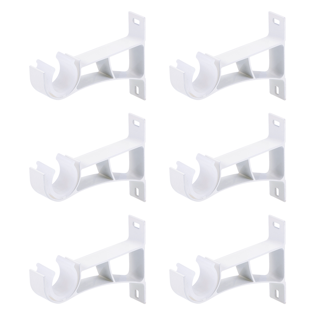 Curtain Rod Bracket Single Holder for 24mm Rod, 108 x 78 x 19mm White 6Pcs