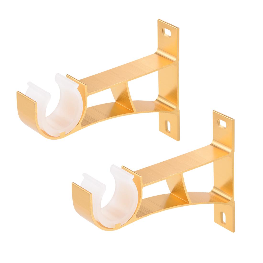 Curtain Rod Bracket Single Holder for 24mm Rod, 108 x 78 x 19mm Golden 2Pcs